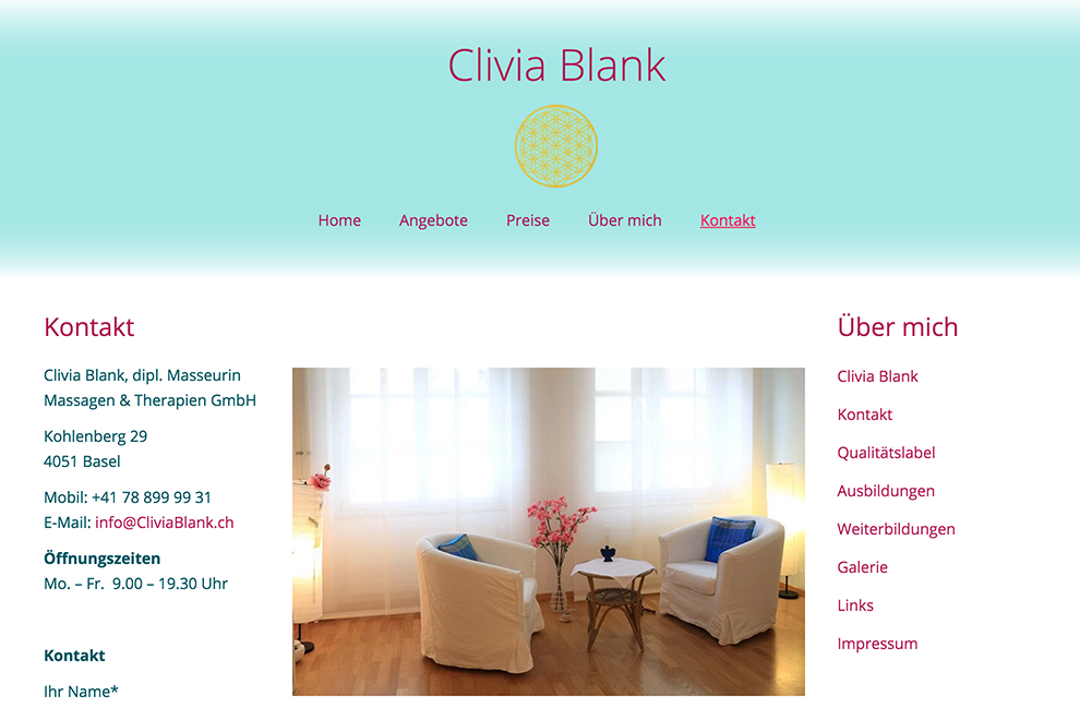 Webdesign: Massagepraxis Blank