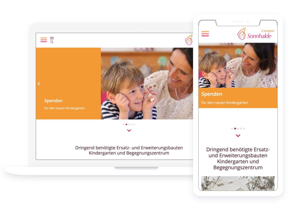 Weblayout Fundraising Sonnhalde-Neubauten